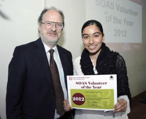 SOAS Volunteer of the Year 2012 - With Director of SOAS Paul Webley